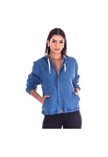Jaqueta Sisal Jeans Bomber Azul