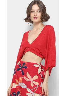 Blusa Mercatto Top Cropped Feminina - Feminino-Vermelho
