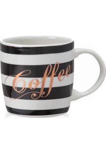 Caneca Em Cerâmica Stripes Coffee Preta E Branca