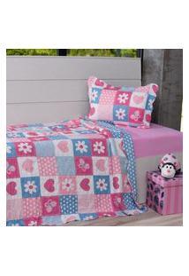 Kit Cobre Leito Casal + Porta Travesseiro Infantil Patchwork Xorações - Bene Casa