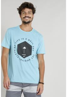 "Camiseta Masculina ""Life Is A Wave"" Manga Curta Gola Careca Azul Claro"
