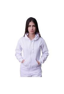 Blusa Moletom Com Ziper Plus Size Branco