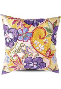 Capa De Almofada Floral- Amarela & Roxa- 42X42Cmstm Home