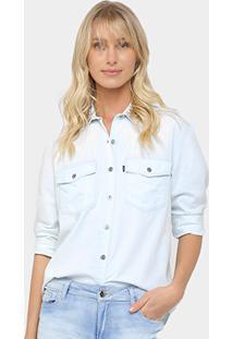 Camisa Jeans Ellus Pedraria Feminina - Feminino-Azul Claro