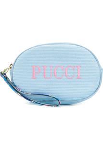 Emilio Pucci Nécessaire Com Logo Bordado - Azul
