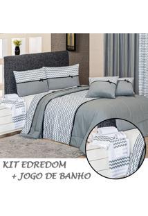 Kit Combo Specialle Edredom E Jogo De Banho Chevron Cinza/Preto Queen 10 Peças - 100% Algodão.