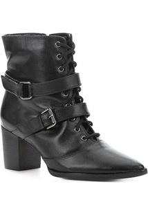 Bota Cano Curto Couro Shoestock Fivelas Feminina - Feminino-Preto