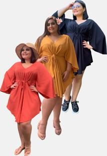 Kit 3 Vestidos Curtos Social Moda Primavera Verão Tnm Collection Plus Size Casual Festa