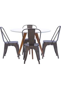 Mesa De Jantar Square Redonda Branco Fosco 90Cm + 4 Cadeiras Tolix Ferrugem Vintage