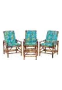 Conjunto Mesa E 3 Cadeiras De Bambu Cancun Para Área Edicula Jardim G17