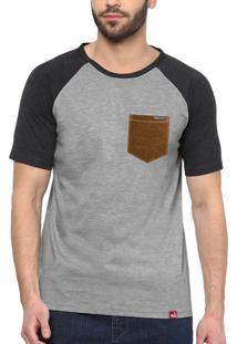 Camiseta Raglan Wevans Bolso Aplique Couro Cinza