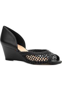 Peep Toe Anabela Shoestock Tressê - Feminino-Preto