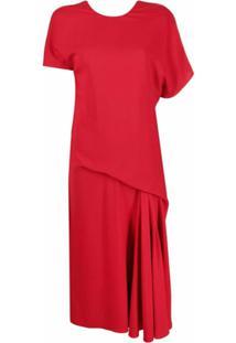 Versace Draped Asymmetric Midi Dress - Vermelho