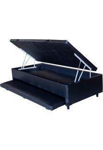 Cama Box Baú Solteiro Com Auxiliar Preto 0,88 X 1,88
