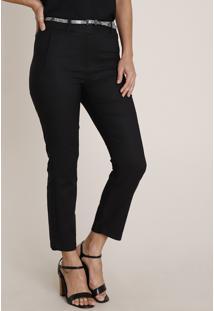 Calça Feminina Skinny Cintura Alta Com Cinto Preta