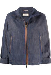 Peserico Jaqueta Jeans Com Zíper - Azul