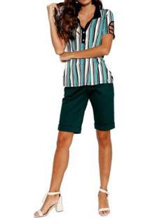 Blusa Polo Energia Fashion Água Feminina - Feminino-Verde