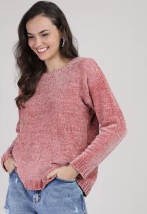 Suéter De Tricô Feminino Rosa Escuro