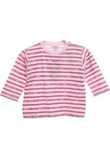 Camiseta Basica Listrada - Feminino-Rosa