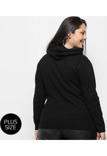 Blusa Tricot City Lady Plus Size Gola Removível Feminina - Feminino-Preto