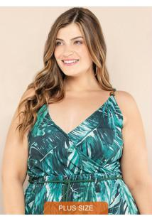 Body Plus Size Transpassado Verde