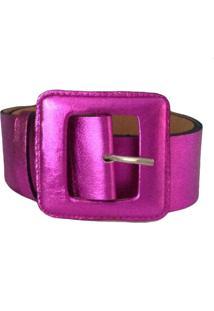 Cinto Couro Vb Cintos Pink Metalizado Fivela Quadrada Pink