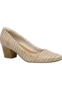 Sapato Tradicional Em Couro Texturizado- Bege Claro & Beusaflex
