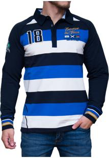 Blusa Kevingston Stockport Rugby Azul Listrado