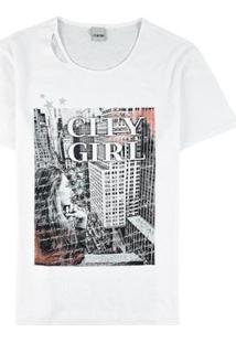 Camiseta Feminina Enfim Estampa Frontal - Feminino-Branco