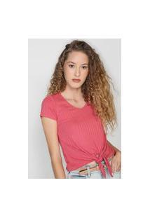 Blusa Malwee Canelada Amarração Rosa