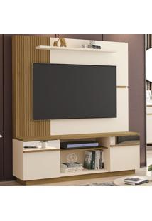 Estante Para Tv Até 60 Polegadas Aruba 2 Portas Com Espelho Off White/Cinamomo/Ripado - Móveis Bechara