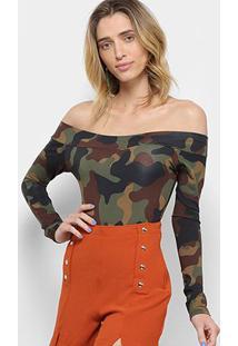 Body Flora Zuu Ombro A Ombro Camuflado - Feminino-Verde Militar