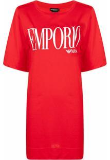 Emporio Armani Logo-Print Cotton T-Shirt Dress - Vermelho