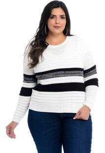 Blusa Malha Plus Size Diannatricot Branca Com Listras