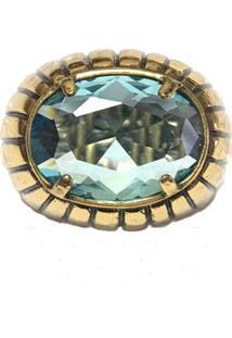 Anel Armazém Rr Bijoux Cristal Swarovski Azul Ouro Velho - Kanui