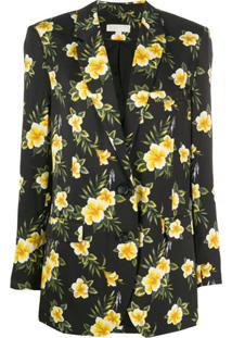 Michael Michael Kors Blazer Floral Com Abotoamento Único - Preto