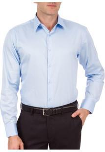 Camisa Social Masculina Upper Azul Lisa
