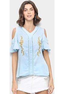 Blusa Ms Fashion Bordada Recortes Feminina - Feminino-Azul