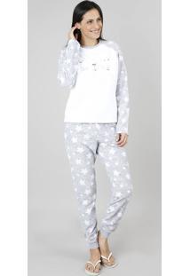 Pijama De Inverno Feminino Em Fleece Coelho Manga Longa Cinza