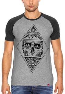 Camiseta Raglan Wevans Caveira Mmxv - Masculino