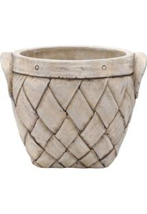 Vaso Basket Com Relevo- Bege- 13X17X15Cm- Urbanurban