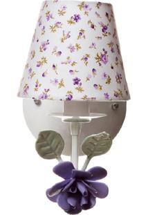 Arandela 1 Lâmpada Flor Potinho De Mel Lilás - Kanui