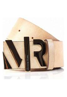 Cinto Cintura/Quadril Reto Detalhe Letreiro Bege - M
