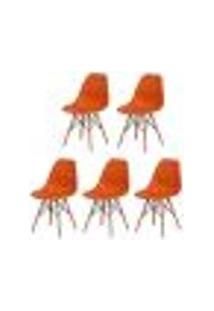 Kit 5 Cadeiras Charles Eames Eiffel Laranja Base Madeira Sala Cozinha Jantar