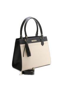 Bolsa Feminina Bicolor Santorini Handbag Tricê Preto/Creme