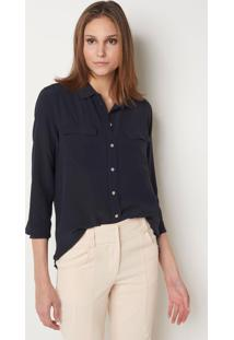 Camisa Le Lis Blanc Lucia Night Blue Seda Azul Feminina (Night Blue, 44)