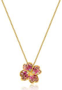Pingente De Ouro 18K Trevo Com Diamantes,Rubi E Rodolita-Coleção Tréfle