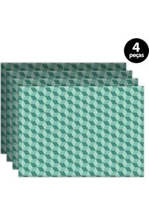 Jogo Americano Mdecore Geométrico 40X28Cm Verde 4Pçs