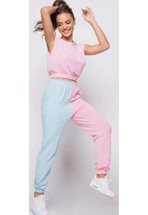 Calça Bicolor Malha Comfort Rosa