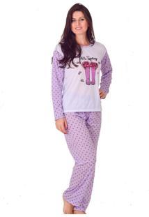 Pijama Feminino Tj Vip De Inverno Poá Roxo